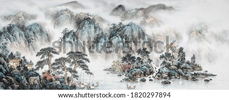 Landscape ink and wash painting. Decoration for the interior. Asian traditional culture.