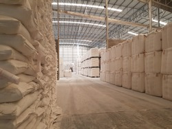 Landscape inside a warehouse with white color tons of sack or bag stacking up under the roof. Agricultural products being processed and ready for the export shipment. Industrial and factory concept.