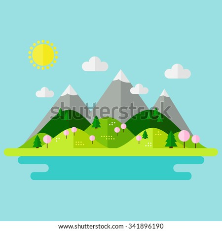 Landscape. Isolated nature landscape with mountains, hills. river and trees on background. Spring landscape. Flat style illustration.
