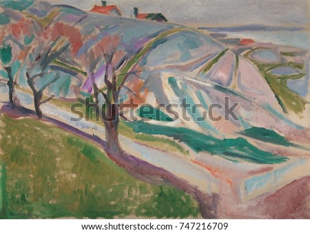 Landscape, Kragerom, by Edvard Munch, 1912, Symbolist/Norwegian Expressionist painting, oil on canvas. This work was made four years following Munchs serious mental breakdown, after which, he painted
