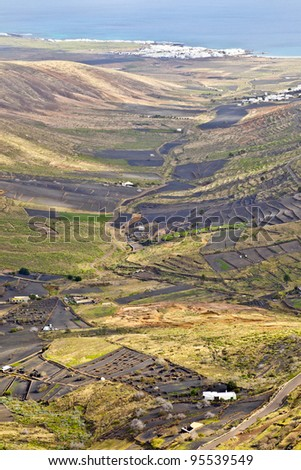 Landscape Lanzarote, Small town Haria, Canary Islands, Spain