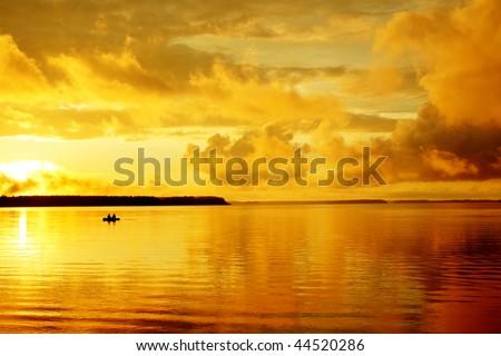 Landscape leisure resort lake beautiful orange sunset