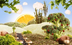 landscape made by vegetables an fruits