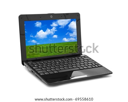 Landscape (my photo) on notebook screen isolated on white background