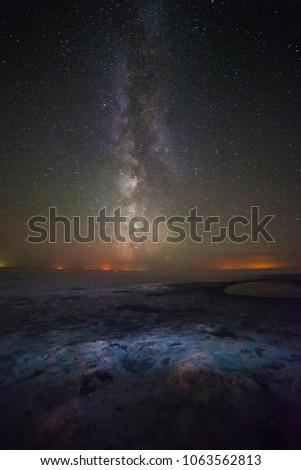 landscape night milkyway sky stars #1063562813