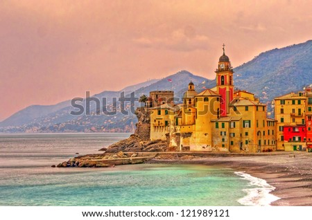 Landscape of a colorful village, Camogli, Liguria, Italy