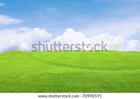 Landscape of a green golf course with sky.Shallow focus.