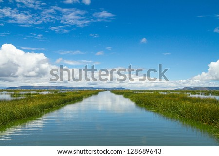 Landscape of a lake adn skyes