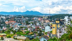 Landscape of a small hillside town in Dalat, Vietnam. Where Dr. Yersin found and worked as a place to research human medicine, today it is a tourist attraction in Vietnam.