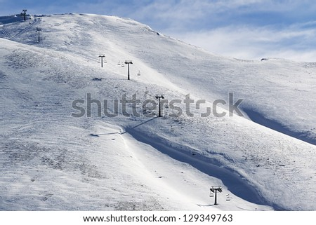 landscape of a snow covered ski center snow-covered