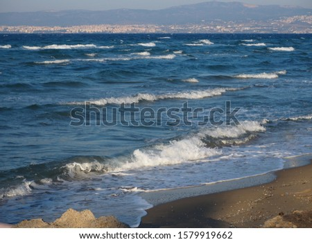 Landscape of a wavy sea in a very windy day
