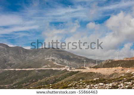 Landscape of a wind turbines farm in Crete, Greece