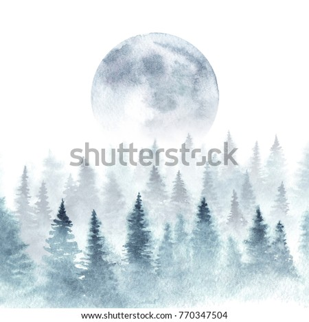 Stock Photo Landscape of a winter forest and rising moon. Trees are dissapearing in a fog. Watercolor illustration.