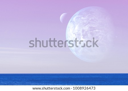 Landscape of an alien planet - a huge blue planet against the background of the pink sky and calm ocean water. Elements of this image are furnished by NASA. #1008926473