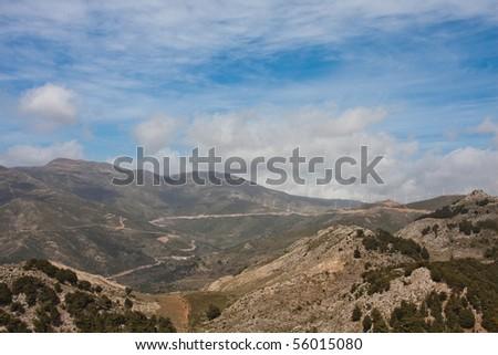 Landscape of an eolian farm in Crete, Greece