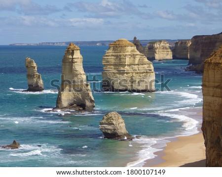 landscape of 12 apostles with blue sea and sky victoria australia. limestone erosion cliffs.great ocean road. Photo stock ©