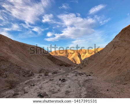 Landscape of barren hills forming a valley in Golden Valley in Death Valley National Park #1417391531