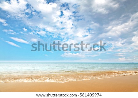 Landscape of beach and sea with blue sky  #581405974