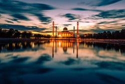Landscape of beautiful sunset sky at Central Mosque, hat yai,Songkhla province, Southern of Thailand.