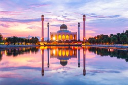 Landscape of beautiful sunset sky at Central Mosque, Songkhla province, Thailand