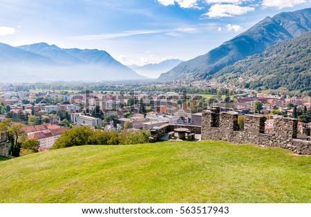 Landscape of Bellinzona city from Montebello Castle, Ticino, Switzerland