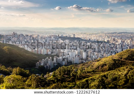 Landscape of Belo Horizonte during a sunny afternoon from the Serra do Curral. #1222627612