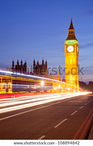 Landscape of Big Ben and Palace of Westminster London England UK