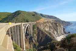 Landscape of Bixby Creek Bridge on beautiful West Coast and pacific ocean is best scenic route traveling San francisco to Los Angeles at Big Sur Area Monterey California United states - USA