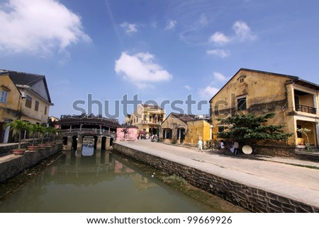 Landscape of building and old japanese bridge. Hilight for any travelers in Hoi An, Vietnam