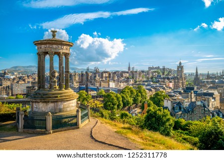 landscape of calton hill, edinburgh, uk