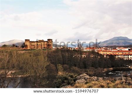landscape of Castillo de Valdecorneja in El barco de Ávila village ,Ávila, Spain. photo  Stock photo ©