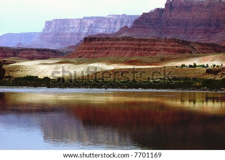 Landscape of Colorado River and Vermilion Cliffs at Lees Ferry