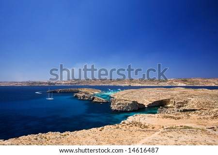 Landscape of Comino Island (foreground) and Gozo Island (background) in malta