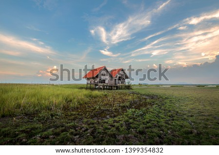 Landscape of Cottage with sunset , Hovel with sunset talaynoi Pattalung, Thailand