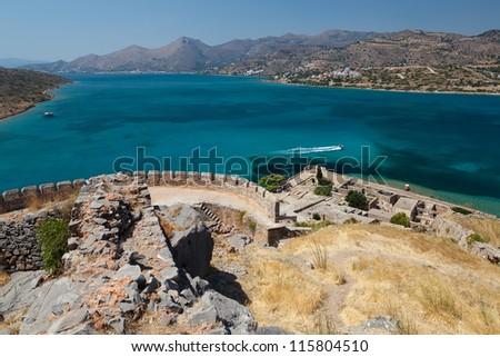 Landscape of crete costline from spinalonga island.