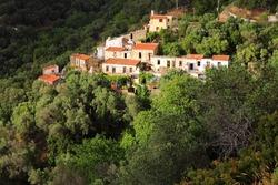 Landscape of Crete island in Greece. Small Greek mountain village.