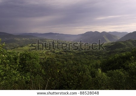 Landscape of Curone Valley (Val Curone), Piedmont, Italy