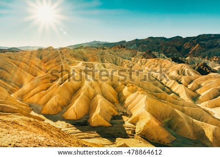 Landscape of Death Valley National Park at Zabriskie Point in the morning. Picturesque of a desert. Erosional landscape in California, USA. Beautiful image of Death Valley National Park.