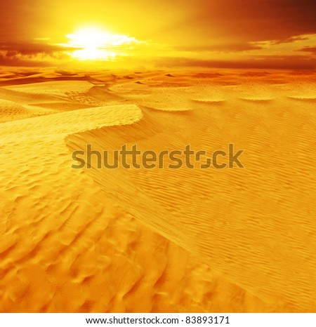 Landscape of desert dune in Sahara.