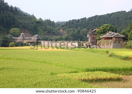 Landscape of Dong Village in Guangxi, China