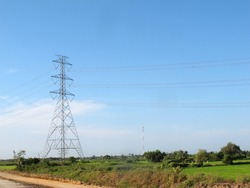 landscape of electric pole have cloud on background