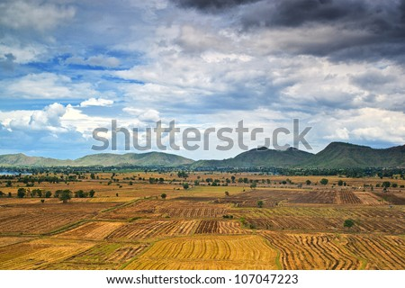 Landscape of farm in countryside before raining time