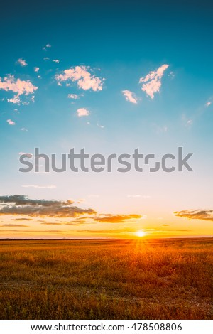 Landscape Of Field Under Scenic Summer Dramatic Sky In Sunset Dawn Sunrise. Skyline. #478508806