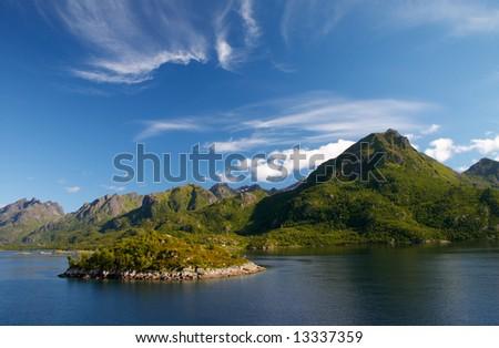 Landscape of fiord near Lofoten island in north Norway