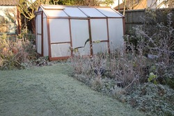 Landscape of frozen Winter garden in heavy white frost with misty pane glass greenhouse, icy lawn beside path and plants pots trees in Winter freeze seasonal frosty weather in Norfolk England