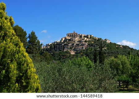Landscape of Gordes village and countryside, Provence, France