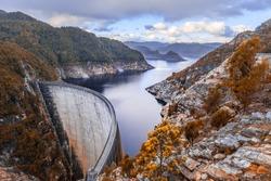 Landscape of Gordon Dam and lake in Tasmania, Australia