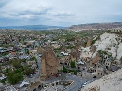 Landscape of Goreme, Cappadocia, Turkey. Famous center of balloon fligths.