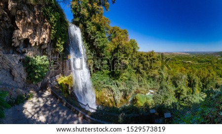 Landscape of Greece on a summer day. Nature Of Greece. City Of Edessa. Waterfalls in Edessa. The waterfalls of Edessa. Natural landmark of Greece.