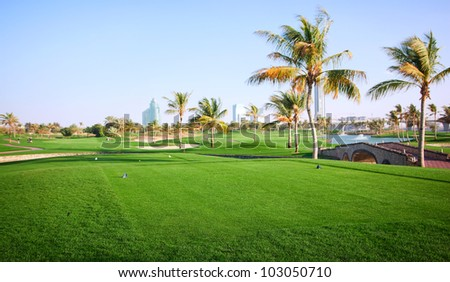 Landscape of green golf course. Dubai, UAE